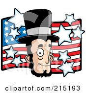 Royalty Free RF Clipart Illustration Of Abe Lincolns Face Over An American Flag