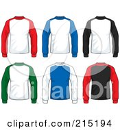 Royalty Free RF Clipart Illustration Of A Digital Collage Of Colorful Long Sleeved Jersey Shirts by Cory Thoman