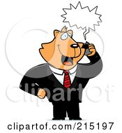 Royalty Free RF Clipart Illustration Of A Cat Businessman Talking On A Cell Phone With A Word Balloon by Cory Thoman