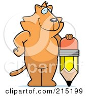 Royalty Free RF Clipart Illustration Of A Cat Standing And Leaning On A Stubby Pencil
