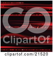 Clipart Illustration Of A Black Background With Red Disco Streaks And Waves by elaineitalia