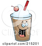 Royalty Free RF Clipart Illustration Of A Happy Chocolate Milkshake With A Cherry And Straw by Cory Thoman
