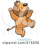 Royalty Free RF Clipart Illustration Of An Excited Lion Jumping by Cory Thoman