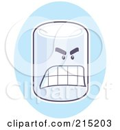 Royalty Free RF Clipart Illustration Of A Mad Marshmallow On A Blue Oval