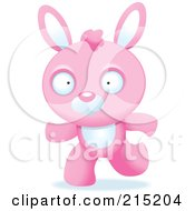 Royalty Free RF Clipart Illustration Of A Running Pink Rabbit by Cory Thoman