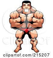 Royalty Free RF Clipart Illustration Of A Body Builder Leaning Forward And Flexing by Cory Thoman