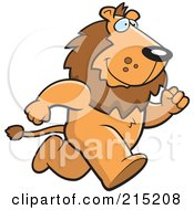 Royalty Free RF Clipart Illustration Of A Lion Running Upright On His Hind Legs by Cory Thoman