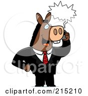 Royalty Free RF Clipart Illustration Of A Donkey Businessman Talking On A Cell Phone With A Word Balloon by Cory Thoman
