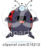 Royalty Free RF Clipart Illustration Of A Scared Ladybug Panicking by Cory Thoman