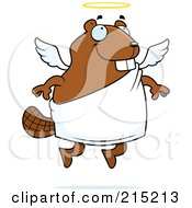 Royalty Free RF Clipart Illustration Of A Flying Angel Beaver With A Halo