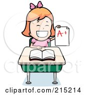 Red Haired School Girl Holding Up An A Plus Report Card And Sitting At Her Desk