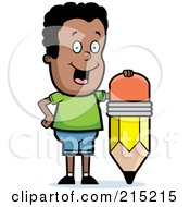 Royalty Free RF Clipart Illustration Of A Happy Black Boy Leaning On A Stubby Pencil by Cory Thoman