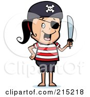 Royalty Free RF Clipart Illustration Of A Pirate Girl Wearing An Eyepatch And Holding A Sword