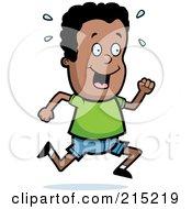 Royalty Free RF Clipart Illustration Of A Happy Black Boy Running