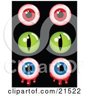Clipart Illustration Of A Collection Of Creepy Halloween Eyes Pairs Of Red Bloodshot Green And Bloody Blue Eyeballs by elaineitalia