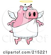 Royalty Free RF Clipart Illustration Of A Flying Angel Piggy With A Halo