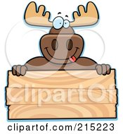 Royalty Free RF Clipart Illustration Of A Goofy Moose Over A Blank Wood Plaque