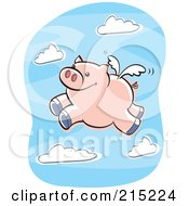 Royalty Free RF Clipart Illustration Of A Winged Pig Flying In A Cloudy Blue Sky