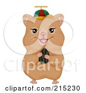 Royalty Free RF Clipart Illustration Of A Cute Hamster Holding A Seed And Wearing A Spinner Hat by BNP Design Studio