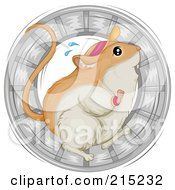 Royalty Free RF Clipart Illustration Of A Sweaty Gerbil Wearing A Visor Hat And Running In A Wheel by BNP Design Studio