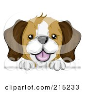 Royalty Free RF Clipart Illustration Of A Cute Beagle Puppy Looking Over A Blank Board