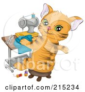 Cute Ginger Cat Sitting In A Chair And Sewing A Shirt