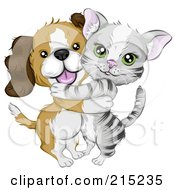 Royalty Free RF Clipart Illustration Of A Cute Beagle Puppy Hugging A Gray Kitten