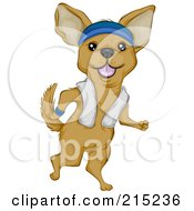 Royalty Free RF Clipart Illustration Of A Cute Chihuahua Jogging Upright A Towel Over His Shoulders by BNP Design Studio