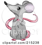 Royalty Free RF Clipart Illustration Of A Cute Mouse Sitting Upright And Clasping His Hands While Looking To The Left by BNP Design Studio