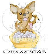 Royalty Free RF Clipart Illustration Of A Cute Chihuahua Taking A Bubble Bath