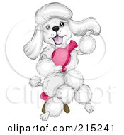Royalty Free RF Clipart Illustration Of A Fluffy Whit Epoodle Blow Drying Her Hair And Sitting In A Stool