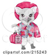 Royalty Free RF Clipart Illustration Of A Gray Cat Wearing A Floral Shirt And Carrying Luggage