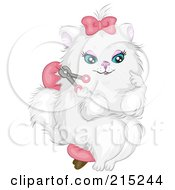 Prissy White Cat Wearing A Pink Bow Sitting In A Chair And Clipping Her Nails