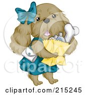 Royalty Free RF Clipart Illustration Of A Cute Cocker Spaniel Dog Carrying Groceries