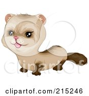 Royalty Free RF Clipart Illustration Of A Cute Brown Baby Ferret by BNP Design Studio