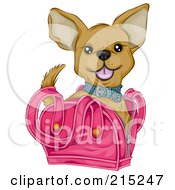 Royalty Free RF Clipart Illustration Of A Cute Chihuahua In A Pink Bag