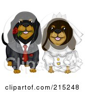 Royalty Free RF Clipart Illustration Of A Daschund Dog Wedding Couple