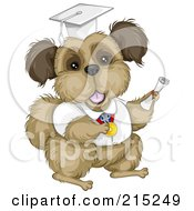 Royalty Free RF Clipart Illustration Of A Brown Terrier Graduate In A White Cap And Gown
