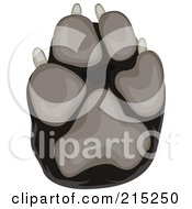 Royalty Free RF Clipart Illustration Of A Black And Gray Dog Paw