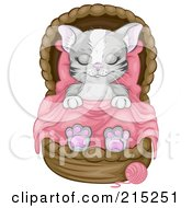 Royalty Free RF Clipart Illustration Of A Gray Kitten Sleeping Soundly In A Basket