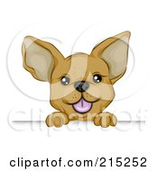 Royalty Free RF Clipart Illustration Of A Cute Chihuahua Puppy Looking Over A Board