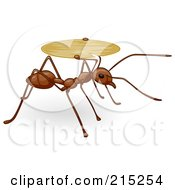 Royalty Free RF Clipart Illustration Of A Cute Brown Ant Carrying A Tray