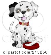 Royalty Free RF Clipart Illustration Of A Dalmatian Puppy Sitting By A Bone In A Dish by BNP Design Studio