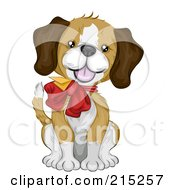 Royalty Free RF Clipart Illustration Of A Cute Beagle Puppy Wearing A Gift Card And Bow