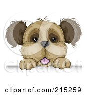 Royalty Free RF Clipart Illustration Of A Cute Brown Dog Looking Over A Board