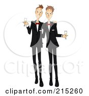 Royalty Free RF Clipart Illustration Of A Happy Gay Couple Getting Married