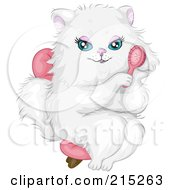 Prissy White Cat Wearing A Pink Bow Sitting In A Chair And Brushing Her Hair