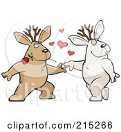 Royalty Free RF Clipart Illustration Of A Romantic Jackalope Pair Dancing by Cory Thoman