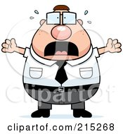 Royalty Free RF Clipart Illustration Of A Scared Plump Businessman by Cory Thoman