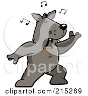 Royalty Free RF Clipart Illustration Of A Singing Wolf With Music Notes by Cory Thoman